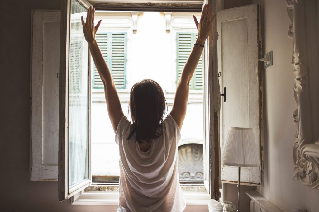 window, woman, morning